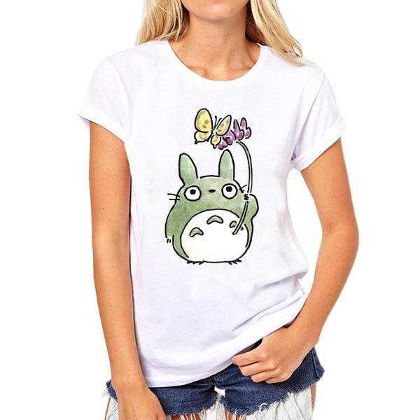 Lotus t shirt Totoro leaf short sleeve tops Butterfly umbrella unisex fastness tees Colorfast print clothing Pure color modal tshirt