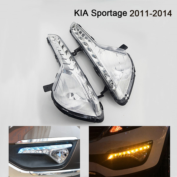ECAHAYAKU car styling For KIA Sportage 2011~2014 LED DRL Daytime Running Lights Daylight Waterproof driving lamp Fog Head Lamps 10 Leds