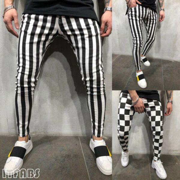 Men's Summer Fashion Slim Comfortable Striped Plaid Black White Casual Pants US