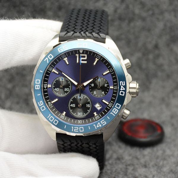 Outdoor 43MM Quartz Chronograph Tagheuer Mens Watches Watch Wristwatches Blue Dial With Fixed Stainless Steel Bezel and Black Rubber Strap