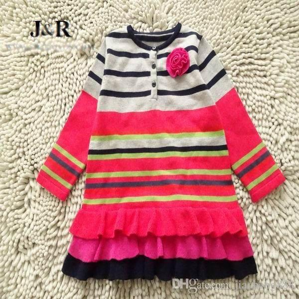 2-6 años Niñas bebé primavera otoño ramillete Dreess niños tejiendo vestido de manga larga niño vestido de suéter a rayas ropa de marca