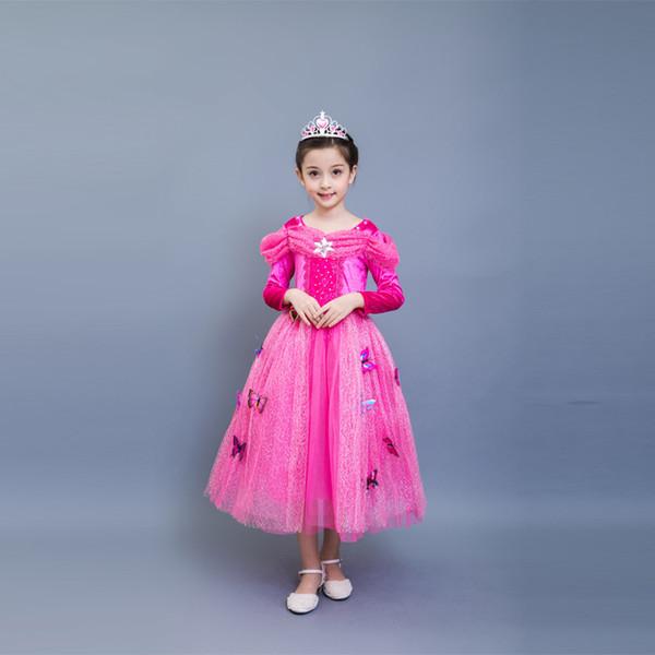 kids Dresses Princess Cinderella Fancy Ball Party Wear Girl Beauty Halloween Christmas Costume Long sleeve blue Pink girls princess Dress