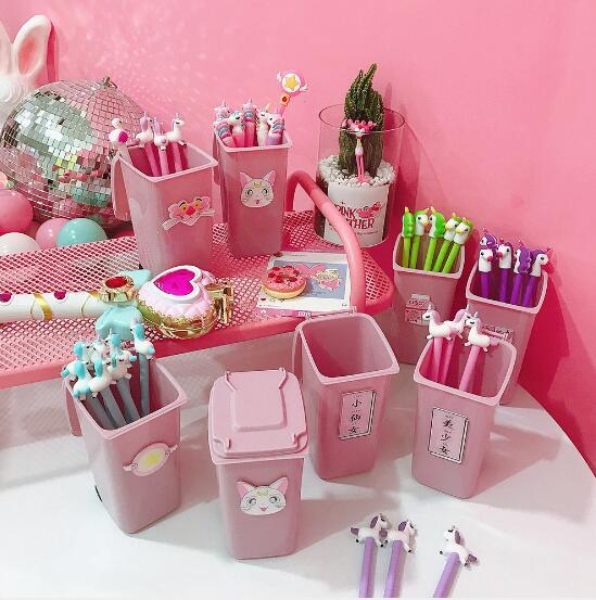 Cute pink girl heart desktop trash can storage little fairy girl desktop storage bucket pen holder
