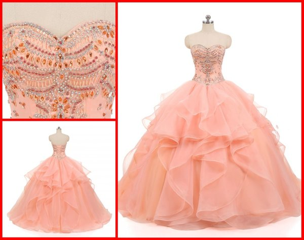 2019 Beautiful Coral Cheap Quinceanera Prom Dresses Ball Gown Sparkly Crystal Rhinestones Ruffles Organza Long Corset Sweet 15 Dress