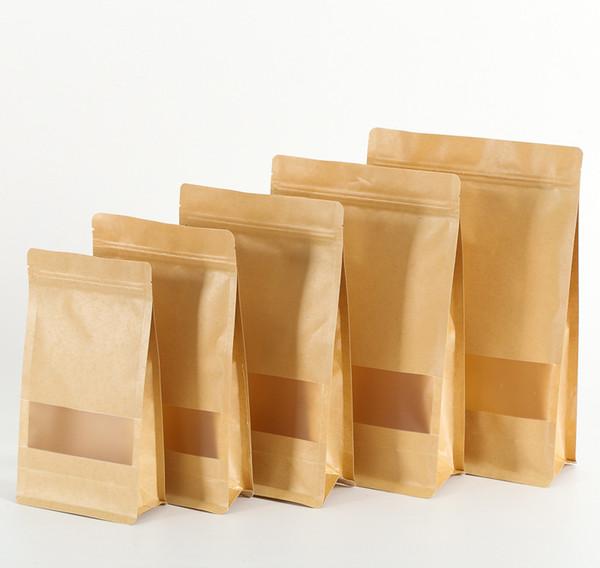 100pcs/lot Brown Square Kraft Paper Bags Zipper Standup Window Packaging Gift Bags Food Coffee Candy Wedding Gift Ziplock Bags