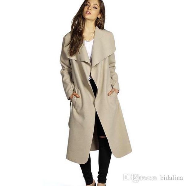 2018 Winter Coat Women Wide Lapel Belt Pocket Wool Blend Coat Oversize Long Red Trench Coats Outwear Wool Coat Women