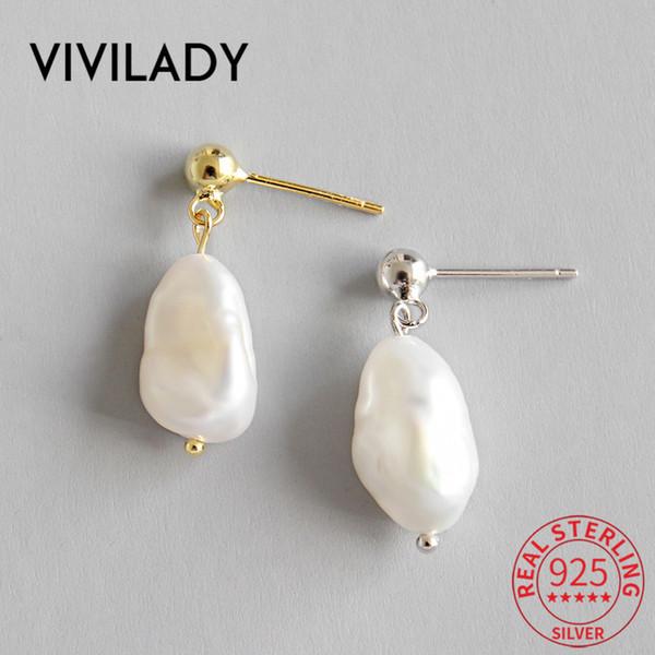 VIVILADY Chic барокко Жемчужина кулон стерлингового серебра-925silver-ювелирные изделия женщины серьги пирсинг тонкий шарм девушка ювелирные изделия Brincos