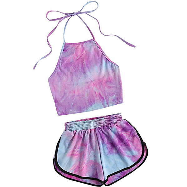 summer clothes for women suspender Print two piece set top and pants Halter Crop Top and Shorts Set jogging femme woman together