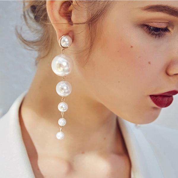Long Bridal Pearl Earring Multiple Vintage Gorgeous Dangle Wedding Chandelier Earrings for Women Best Gifts