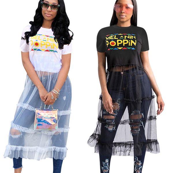 Women POPPIN Letter Dress Patchwork Mesh Long Dresses Summer T-shirt Skirt Gauze Panelled See-through Dress One Piece Skirts Clothing S-3XL