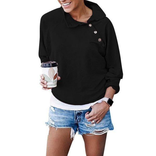 EFINNY Women Casual Sweatshirt Kawaii Solid Sweatshirt Fashionable Button Lapels Long Sleeve Hoodies Pullovers Loose Female Tops