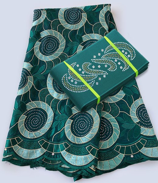 top popular 5 yards African Swiss voile lace fabric matching Aso Oke Head gele headtie hair wrap 2019