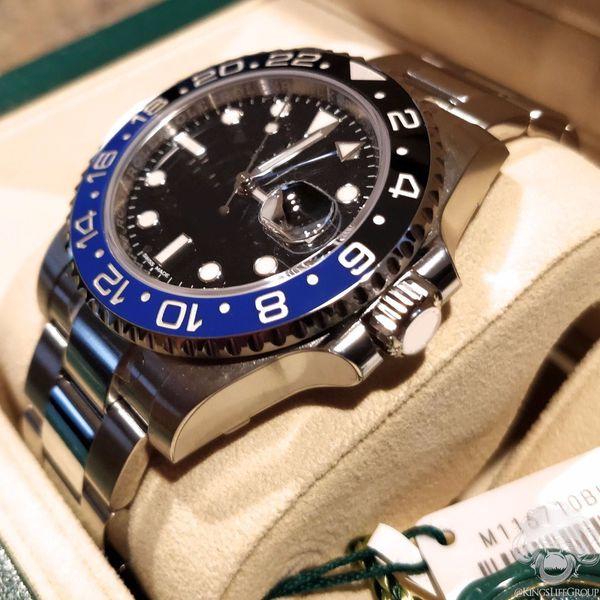 in scatola originale lusso quadrante nero GMT II 116710 116710LN 116710Blnr in acciaio inox Eta 2813 movimento automatico Mens Orologi