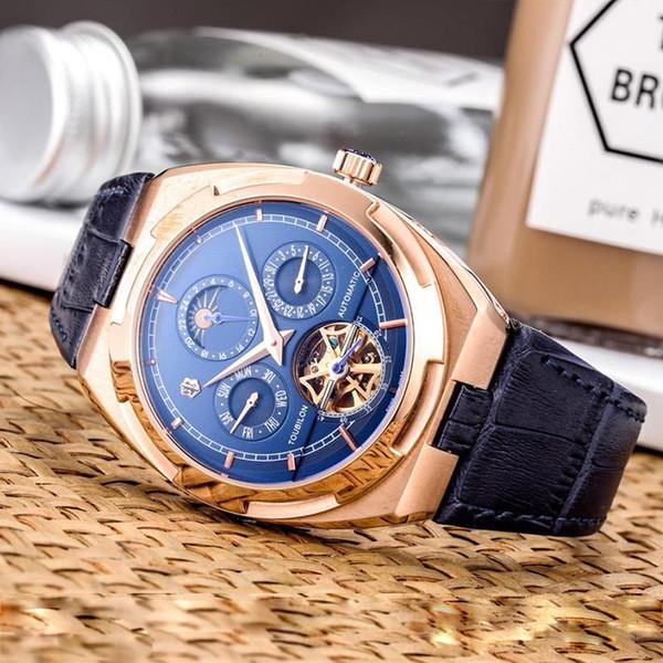 Herrenuhren Armbanduhr Moon Qualitäts Relogio Luxus Gentleman Watch Tourbillon Phase Großhandel Skeleton Business Masculino Mechanische Automatische w8nPk0O