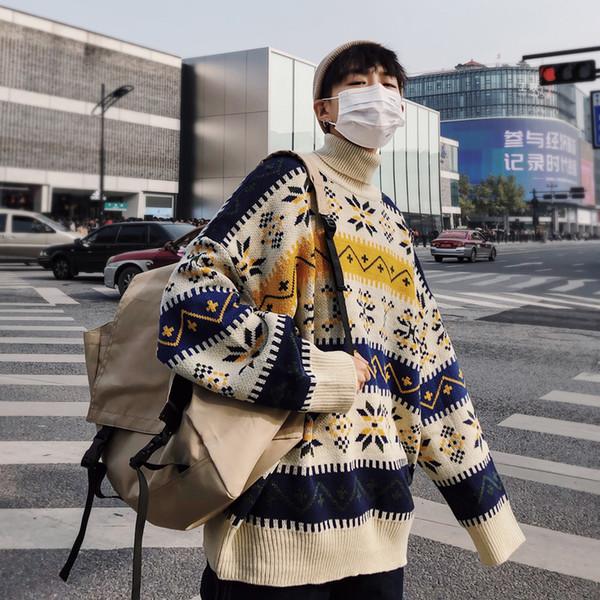 Nuovi uomini di inverno 2018 nella stampa calda Maglioni di lana Casual Pullover di cashmere Marca Knitting Dolcevita 3 cappotti di colore M-2XL