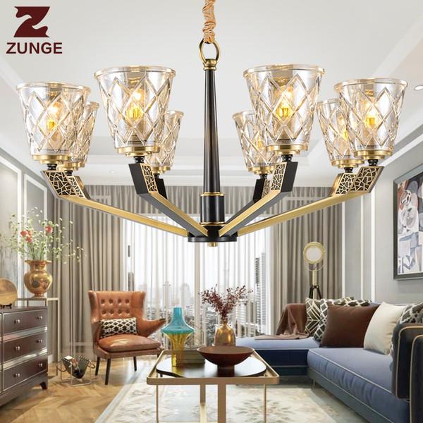 Modern LED lüks bakır Avize Işıkları Oturma Odası içinde M792 büyük cam aydınlatma armatürleri lampadari lustre para sala