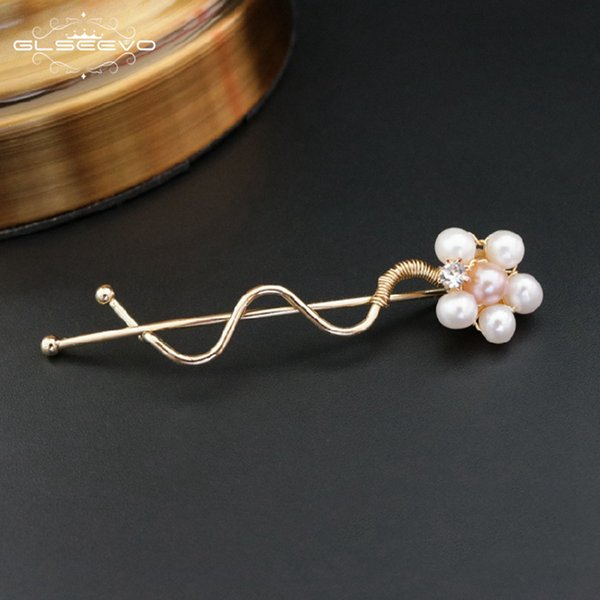 GLSEEVO Natural Fresh Water Pearl Flower Hair Clip bridal Hair Accessories Bijoux Jewellery Pince Cheveux Femme GH0003