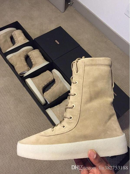 """2017 hot Kanye west Season 2 """"Crepe"""" Boot Taupe US KM1011 350 500 700 750 950 Kanye Pablo Ovo running shoes outdoor boots Sports shoes"""