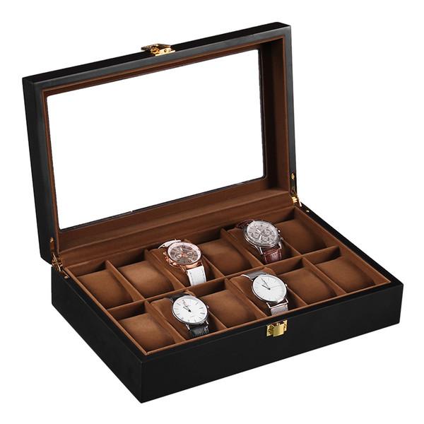 Retro leather glass watch box luxury storage watch organizer jewlery box gift for men women