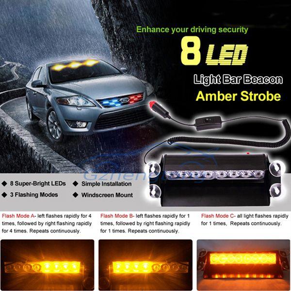 Gzhengtong Nuevo diseño de coche 8 LED Amber Car Police Strobe Flash Light Dash Luces de niebla de emergencia faros automáticos modificados para Bmw x3 x5, etc.