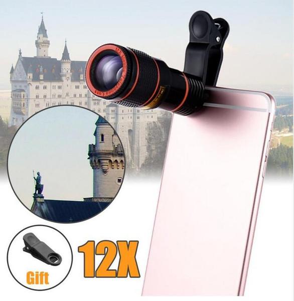 Obiettivo del telescopio della macchina fotografica dello zoom ottico di HD 12x con la clip per il iPhone / telefono Obiettivo universale DSLR Prodotto universale Telefono cellulare