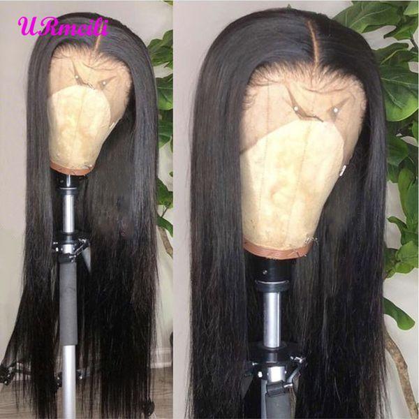 360 parrucca frontale in pizzo 150% densità brasiliana diritta vergine capelli umani parrucche corte per le donne nere pre pizzicato con capelli del bambino estremità completa