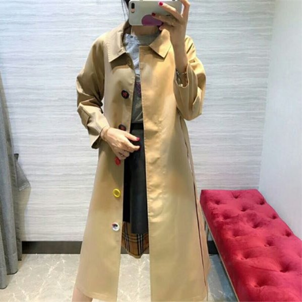 windbreaker ladies loose jacket in the long coat solid color belt slim color button waterproof british wind autumn and winter coat 1c