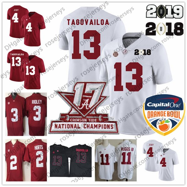Alabama Crimson Tide #13 Tua Tagovailoa 2019 Champions White Jersey 2 Hurts 4 Jerry Jeudy Derrick Henry Ruggs 11 Harris Red Orange Bowl