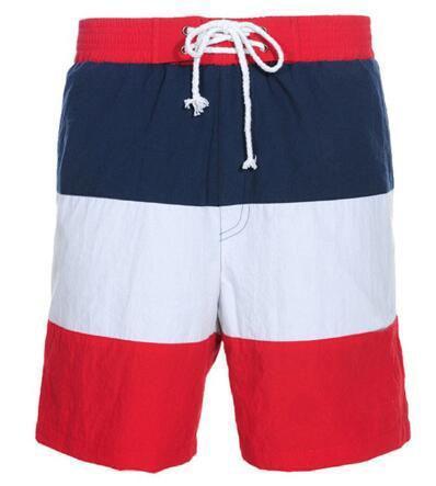 Global 2019 Homens Listrado Polo Shorts Quick Dry Grande Pônei Impresso Masculino Praia Calças Curtas Drawsting Swimwear Azul Vermelho