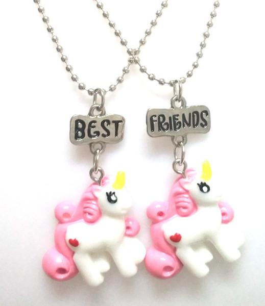 2 Unidades Por Set Unicornio Collares pendientes Para Niños Niñas Mejor Amigo Amistad Collar de Cadena DIY Joyería PARA niños