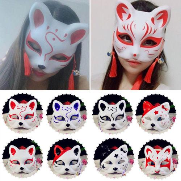 Metade do Rosto Máscara de Raposa Animal Japonês Kitsune Pintados à Mão-Halloween Cosplay Máscara Fontes Do Partido Das Meninas Traje de Halloween
