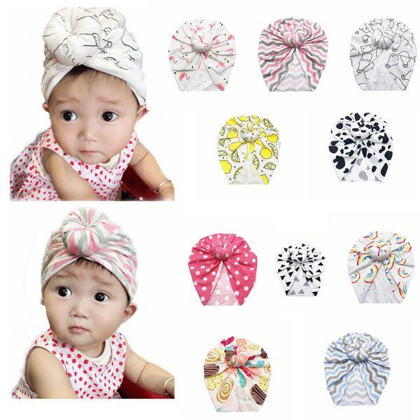 best selling 10Styles Doughnut flamingo turban hat kids baby infant Turban Hats baby headband bowknot Outdoor Caps Kids gift favor FFA2861