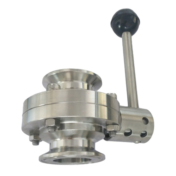 top popular Port Size 25mm Tri Clamp Sanitary Butterfly Valve Stainless Steel with Pull Handle 2021