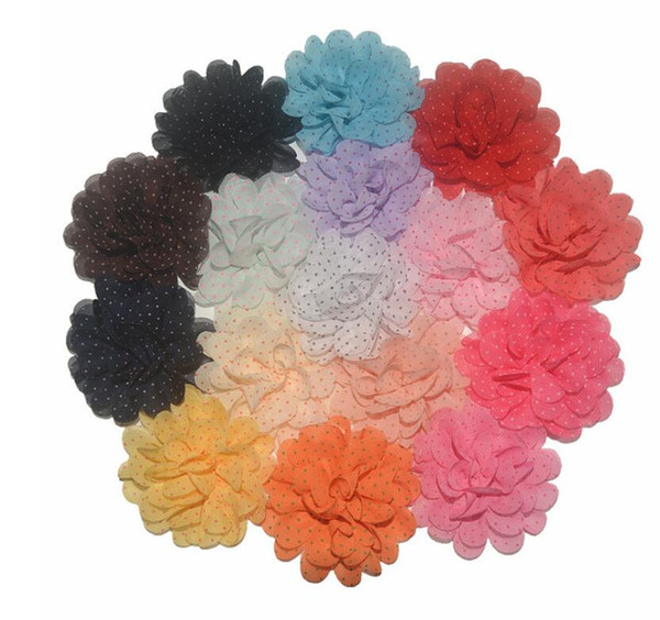 Gold Polka Dotted Fabric Chiffon Flower Flat Back Headband Floral Hair Embellishment HS10132