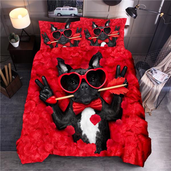 Set di biancheria da letto con stampa animalier 3D Set di copripiumini per cani con occhiali Biancheria da letto con copriletto Queen King