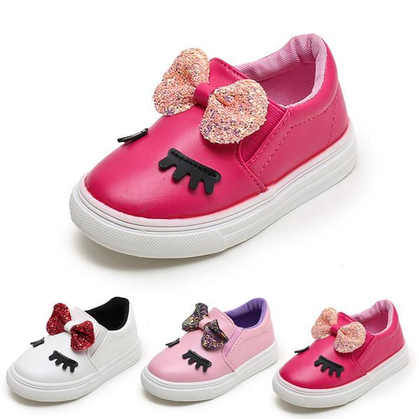Kinder Mädchen Schuhe PU Leder Bowknot Shy Eyes Sneaker Kind Schuh Casual Frühling Herbst Kinder Party Anti-Rutsch-Schuhe BFOF