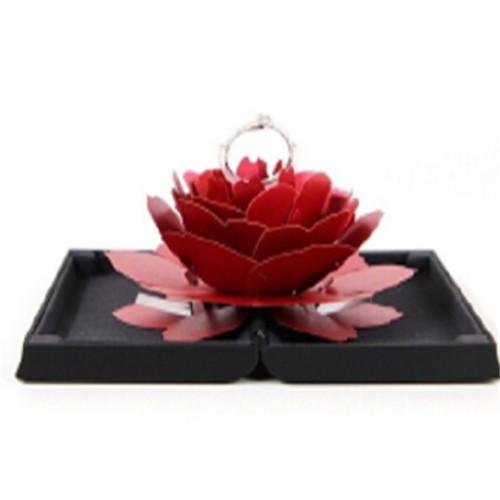 3D Solid Romantic Pop Up Rose Ring Box Wedding Valentine's Day Engagement Jewelry Storage Holder Case Bump Gift Box Ring