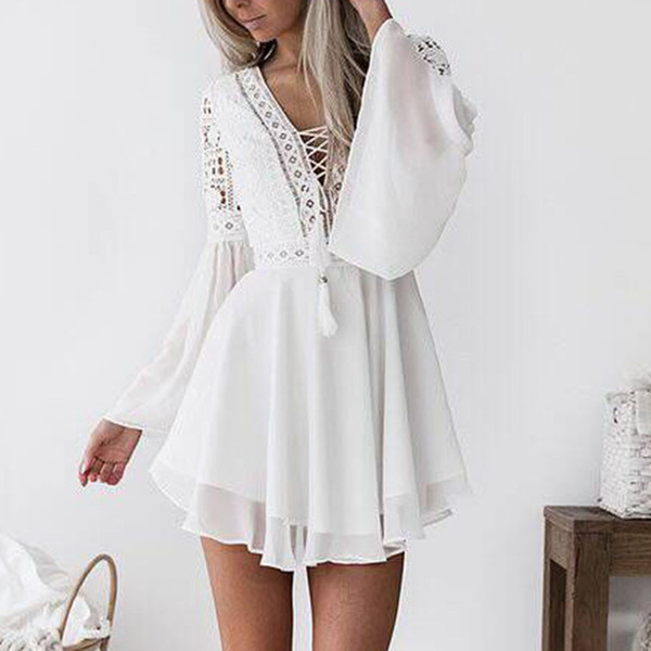 Dress Women 2019 Summer Fashion Lace Long Sleeve Bodycon Cocktail Party Pencil Dress Bandage Loose Casual Elegant Dresses