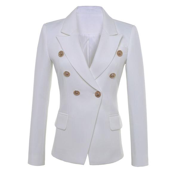 ALTA QUALIDADE de Moda de Nova 2019 Estrela Designer de Estilo Blazer Botões de Ouro das Mulheres Double Breasted Blazer Plus Size S-XXXL
