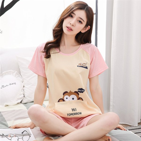 Pajamas Women Two Piece Set Pyjamas Women Sleepwear Nightwear Set Home Clothes Plus size Summer Cartoon Cotton Night suit Ladies