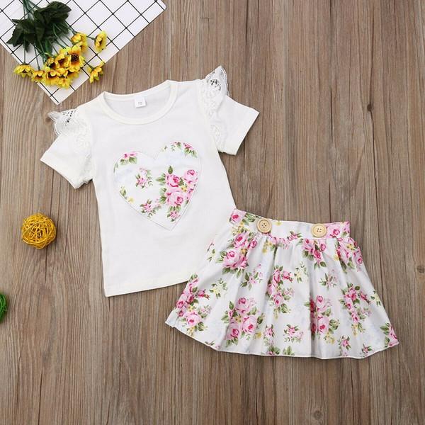 0-24 M para bebé bebés ropa Amor Tops flor mini falda corta ropa de verano para niños Conjuntos