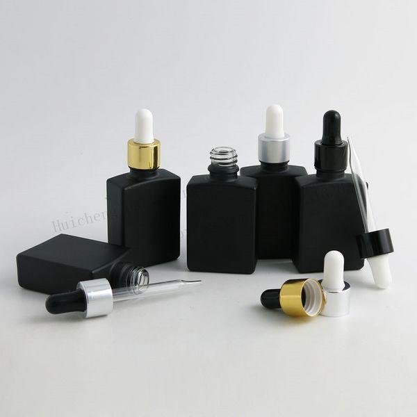 200 x 30 ml bottiglie vuote quadrato nero gelo piatto di vetro con alluminio Dropper 1 oncia di vetro contagocce contenitore per olio essenziale