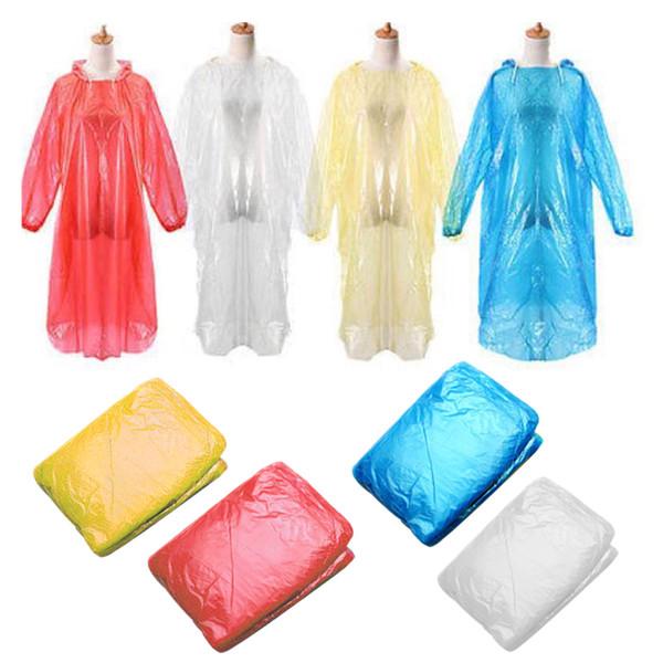 10pcs Disposable Raincoat Waterproof Rain Coat Poncho Outdoors Camping Hood