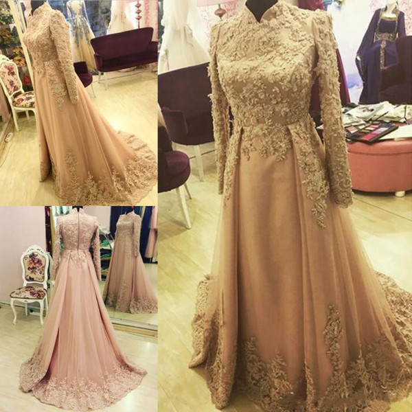 Elegant Arabic A-Line Evening Dresses Long Sleeve Dubai Indian High Neck Evening Gown Custom Made Lace Appliques Muslim Party Dress