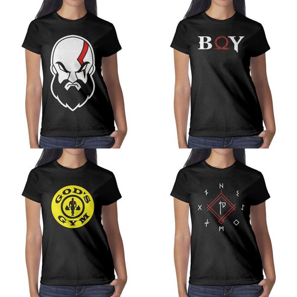 Impresión de diseño para mujer God Of War Kratos camiseta negra cerrada camiseta vintage vintage crazy friends camisas impresas slim fit novedad