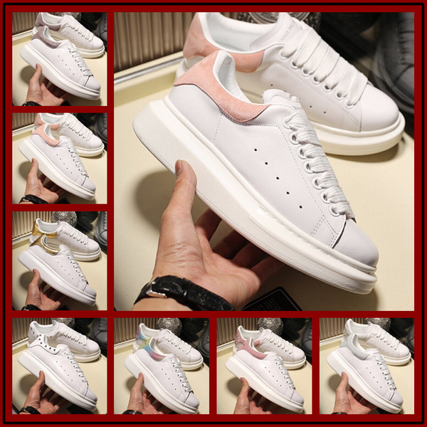 2019 Luxurious Women Casual Shoes Men New Dedigners Reflective-Timmed Leather Low Top Sneakers White Lightweight Thrick Bottom Casual Shoes