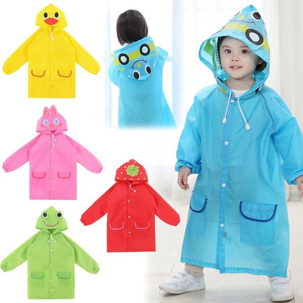 Wholesale Children Cartoon Animal Style Waterproof Kids Raincoat For Children Rain Coat Rainwear Rainsuit Student Cute Poncho Drop FT10