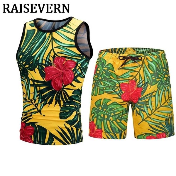 Floral Leaves Tank Tops+Board Shorts Casual Summer 3D Men Elastic Waist Beach Shorts Sleeveless 3D Vest Men Male 2PCS Sets