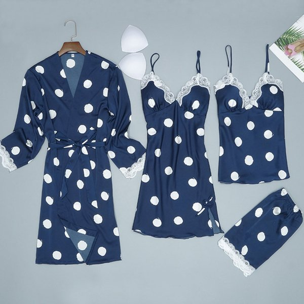 2019 Women Satin Silk Night Dress Kimono Bathrobe Set Sexy Cute Polka Dot Lingerie Babydoll Nightwear Nightgown Sleepwear pijama