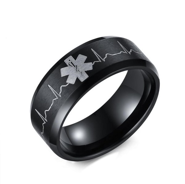 ZHF Jewelry 8MM Laser Engraved Heartbeat Medical Symbol Black Wedding Band Rings for Men Stainless Steel Comfort Fit Ring